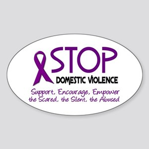 Stop Domestic Violence 2 Oval Sticker